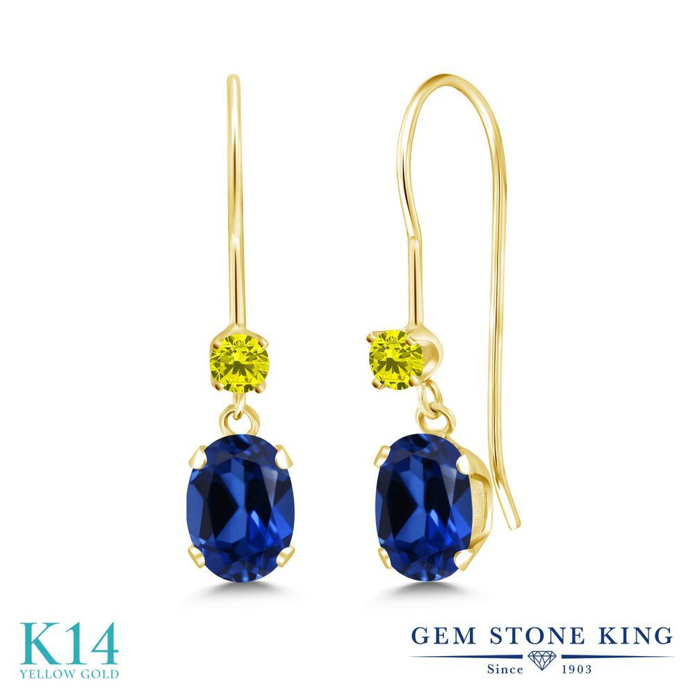 Gem Stone King 1.49カラット シミュレイテッド サファイア 天然 イエローダイヤモンド 14金 イエローゴールド(K14) ピアス レディース ぶら下がり アメリカン 揺れる 金属アレルギー対応 誕生日プレゼント