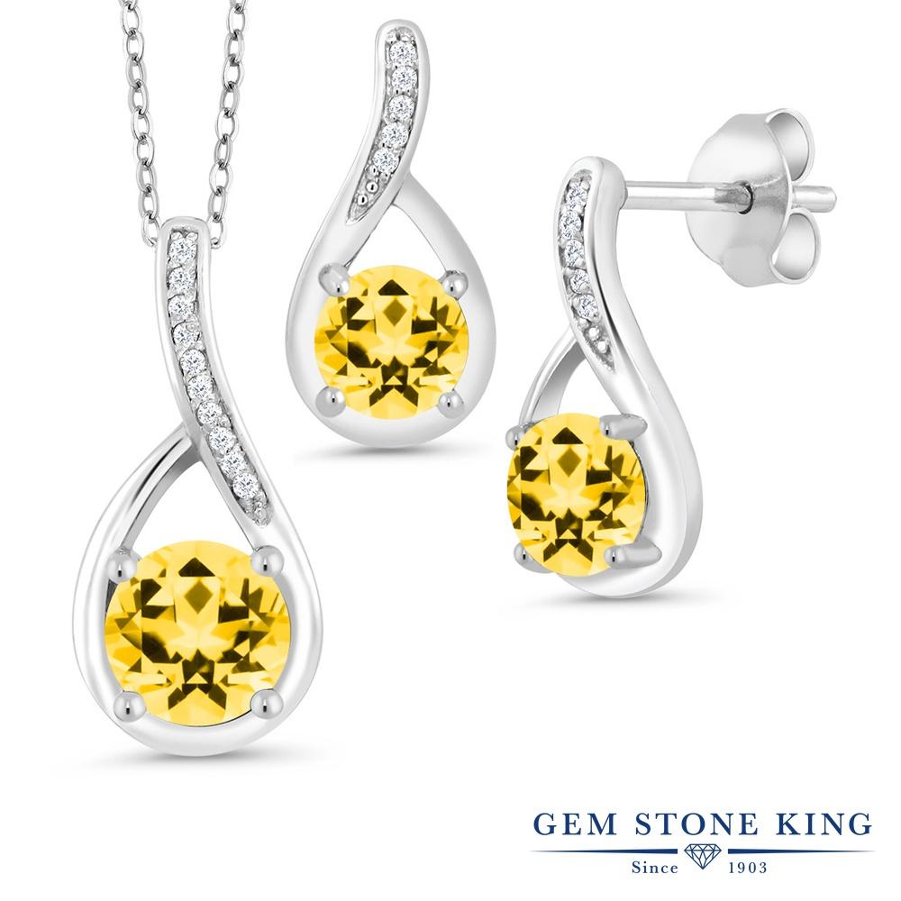 Gem Stone King 2.44カラット 天然石 トパーズ ハニースワロフスキー 天然 ダイヤモンド シルバー925 ペンダント&ピアスセット レディース 大粒 金属アレルギー対応 誕生日プレゼント