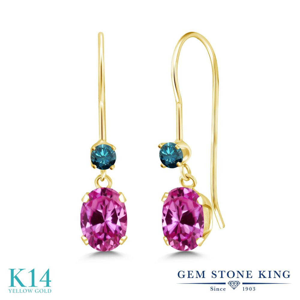 Gem Stone King 1.33カラット 合成ピンクサファイア 天然 ブルーダイヤモンド 14金 イエローゴールド(K14) ピアス レディース ぶら下がり アメリカン 揺れる 金属アレルギー対応 誕生日プレゼント