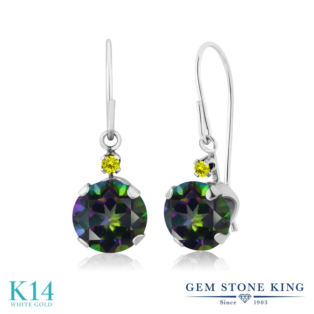 Gem Stone King 2.03カラット 天然石 ミスティックトパーズ (グリーン) 天然 イエローダイヤモンド 14金 ホワイトゴールド(K14) ピアス レディース 大粒 ぶら下がり アメリカン 揺れる 天然石 金属アレルギー対応 誕生日プレゼント