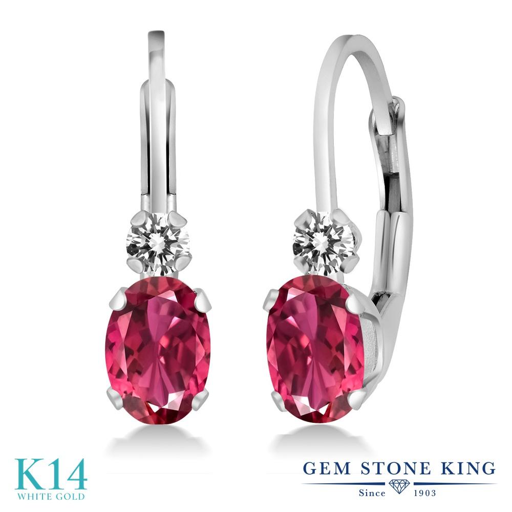 Gem Stone King 0.83カラット AAAグレード 天然 ピンクトルマリン 天然 ダイヤモンド 14金 ホワイトゴールド(K14) ピアス レディース 小粒 ぶら下がり レバーバック 華奢 細身 天然石 金属アレルギー対応 誕生日プレゼント