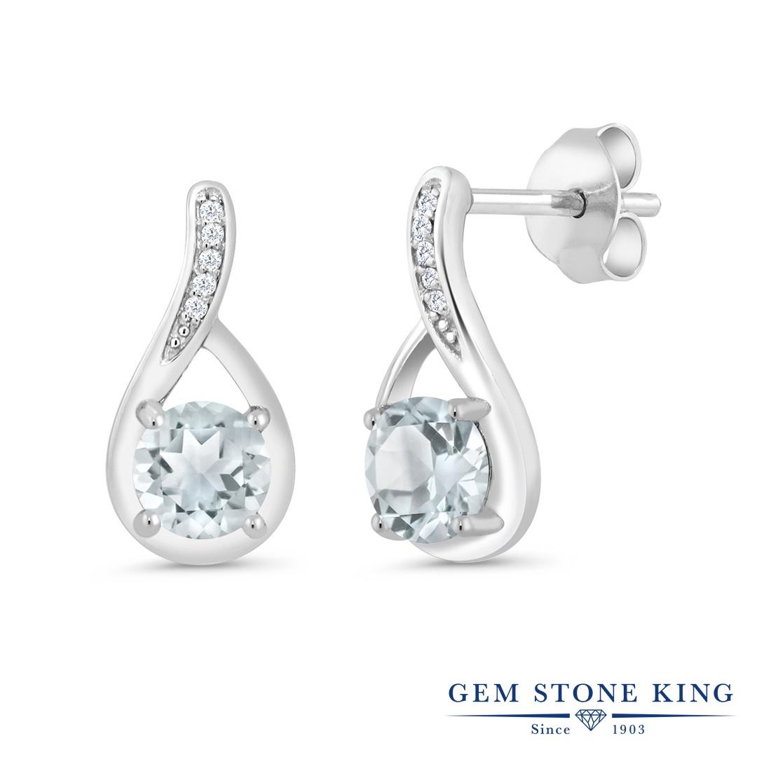 Gem Stone King 0.87カラット 天然 アクアマリン 天然 ダイヤモンド シルバー925 ピアス レディース 小粒 ぶら下がり 天然石 3月 誕生石 金属アレルギー対応 誕生日プレゼント