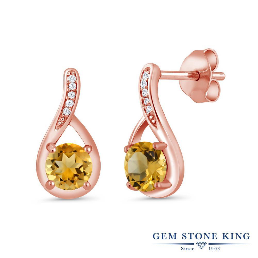 Gem Stone King 0.97カラット 天然 シトリン 天然 ダイヤモンド シルバー925 ピンクゴールドコーティング ピアス レディース 小粒 ぶら下がり 天然石 11月 誕生石 金属アレルギー対応 誕生日プレゼント