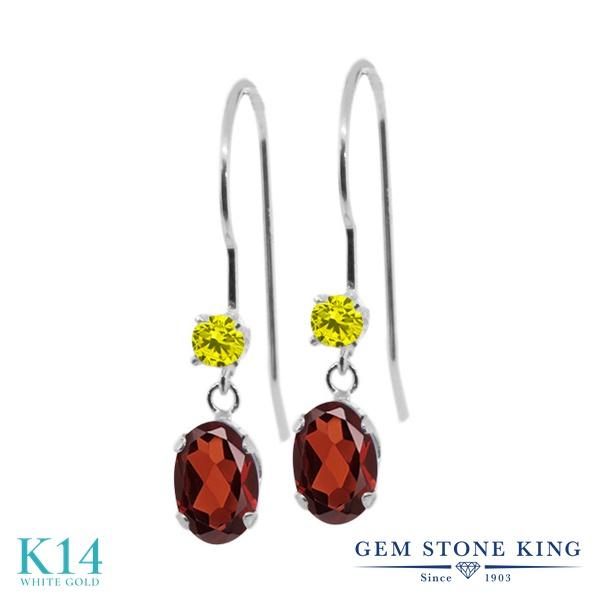 Gem Stone King 1.23カラット 天然 ガーネット 天然 イエローダイヤモンド 14金 ホワイトゴールド(K14) ピアス レディース ぶら下がり アメリカン 揺れる 天然石 1月 誕生石 金属アレルギー対応 誕生日プレゼント
