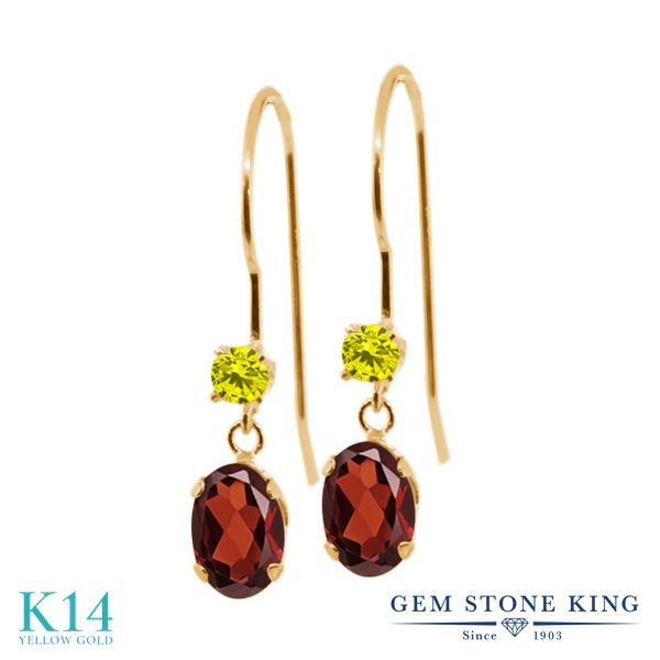 Gem Stone King 1.23カラット 天然 ガーネット 天然 イエローダイヤモンド 14金 イエローゴールド(K14) ピアス レディース ぶら下がり アメリカン 揺れる 天然石 1月 誕生石 金属アレルギー対応 誕生日プレゼント