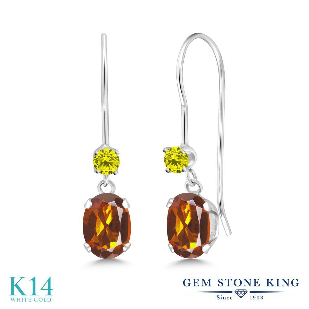 Gem Stone King 0.93カラット 天然 マデイラシトリン (オレンジレッド) 天然 イエローダイヤモンド 14金 ホワイトゴールド(K14) ピアス レディース 小粒 ぶら下がり アメリカン 揺れる 天然石 金属アレルギー対応 誕生日プレゼント