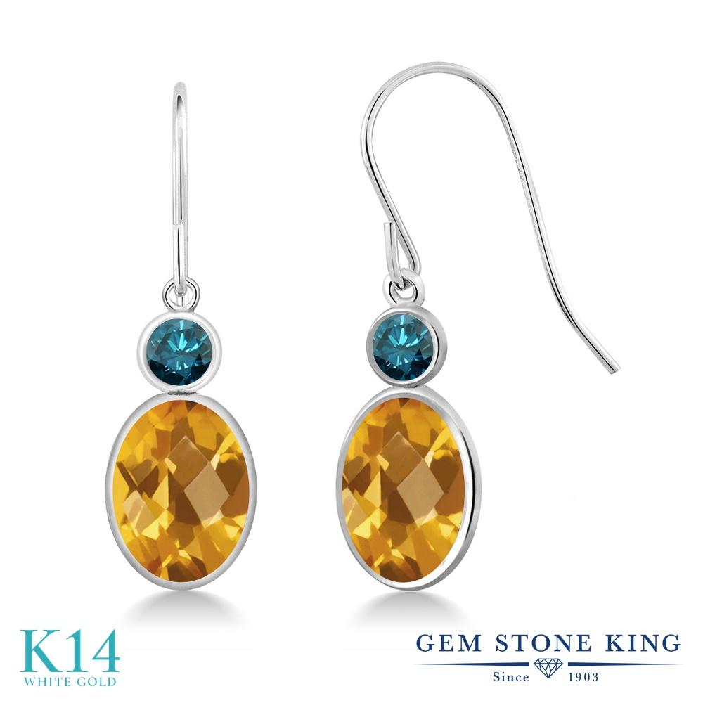 Gem Stone King 2.7カラット 天然 シトリン 天然 ブルーダイヤモンド 14金 ホワイトゴールド(K14) ピアス レディース 大粒 ぶら下がり フレンチワイヤー 天然石 11月 誕生石 金属アレルギー対応 誕生日プレゼント
