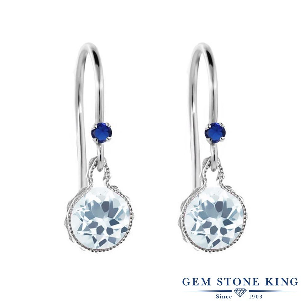 Gem Stone King 1.52カラット 天然 アクアマリン シミュレイテッド サファイア シルバー925 ピアス レディース ぶら下がり アメリカン 揺れる 天然石 3月 誕生石 金属アレルギー対応 誕生日プレゼント