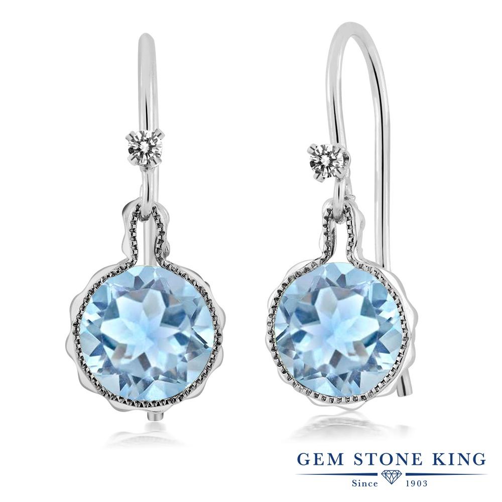 Gem Stone King 1.52カラット 天然アクアマリン シルバー925 天然ダイヤモンド ピアス レディース ぶら下がり アメリカン フック 天然石 誕生石 金属アレルギー対応 誕生日プレゼント