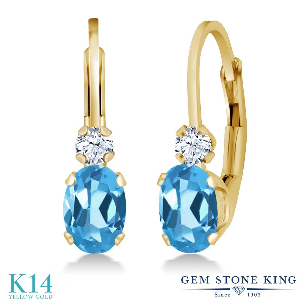 Gem Stone King 1.08カラット 天然トパーズ(スイスブルー) 合成ホワイトサファイア(ダイヤのような無色透明) 14金 イエローゴールド(K14) ピアス レディース 小粒 ぶら下がり レバーバック 天然石 誕生石 金属アレルギー対応 誕生日プレゼント
