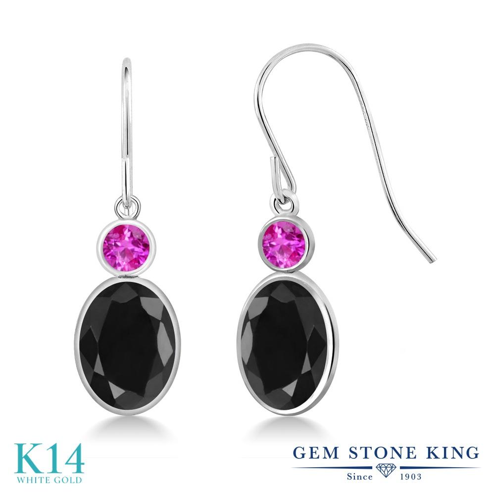 Gem Stone King 3.58カラット 天然サファイア(ブラック) 天然サファイア(ピンク) 14金 ホワイトゴールド(K14) ピアス レディース 大粒 ぶら下がり フレンチワイヤー 天然石 誕生石 金属アレルギー対応 誕生日プレゼント