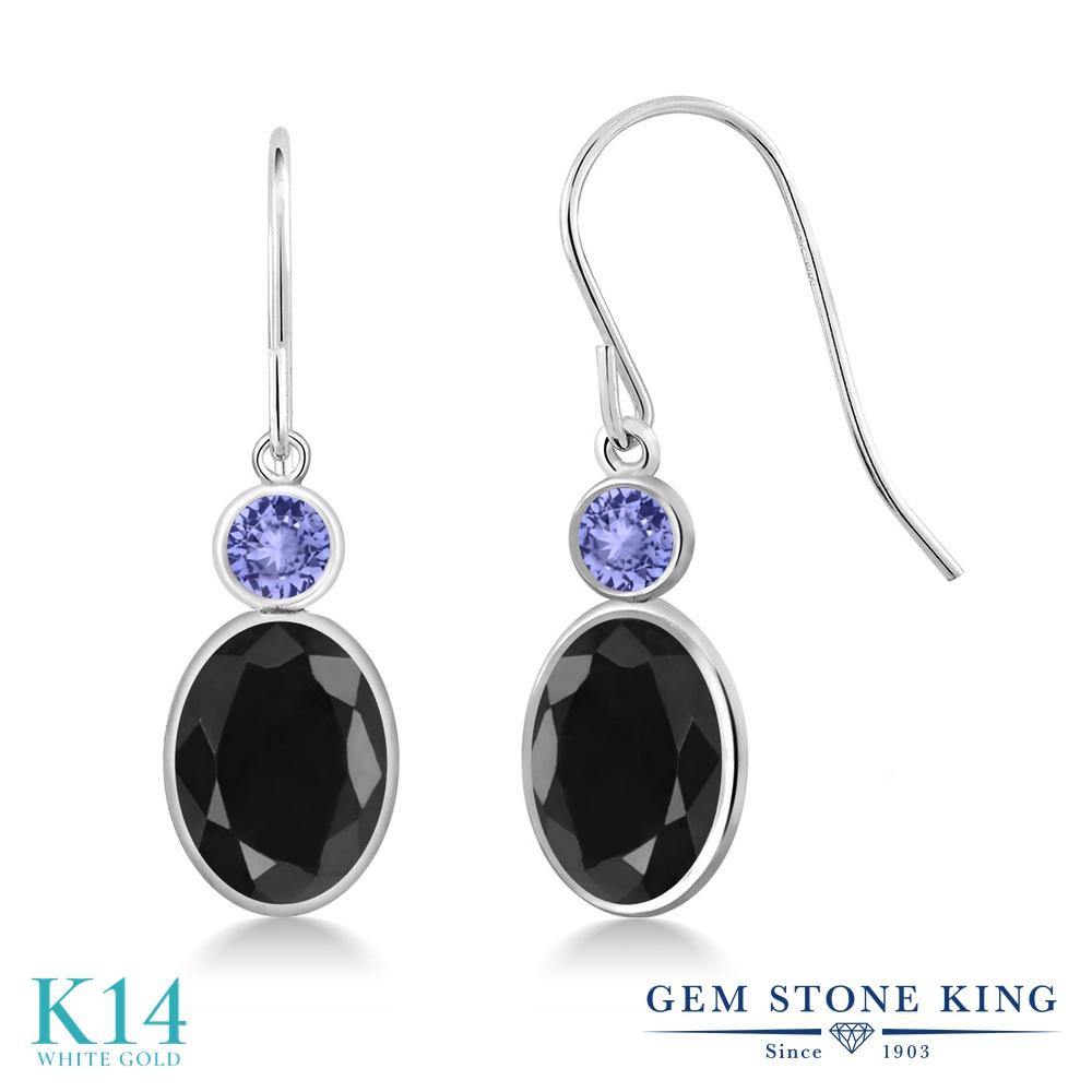 Gem Stone King 3.56カラット 天然 ブラックサファイア 天然石 タンザナイト 14金 ホワイトゴールド(K14) ピアス レディース 大粒 ぶら下がり フレンチワイヤー 天然石 9月 誕生石 金属アレルギー対応 誕生日プレゼント