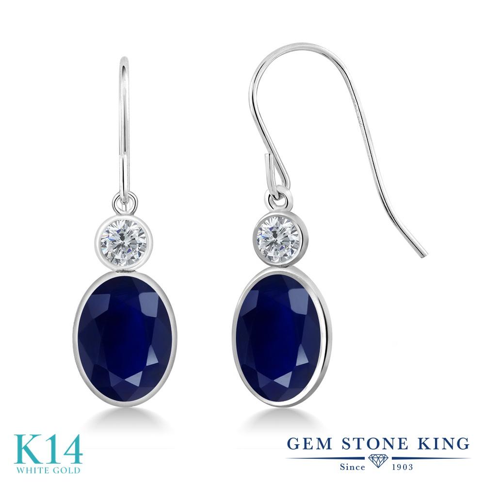 Gem Stone King 3.78カラット 天然 サファイア 天然 ダイヤモンド 14金 ホワイトゴールド(K14) ピアス レディース 大粒 ぶら下がり フレンチワイヤー 天然石 9月 誕生石 金属アレルギー対応 誕生日プレゼント