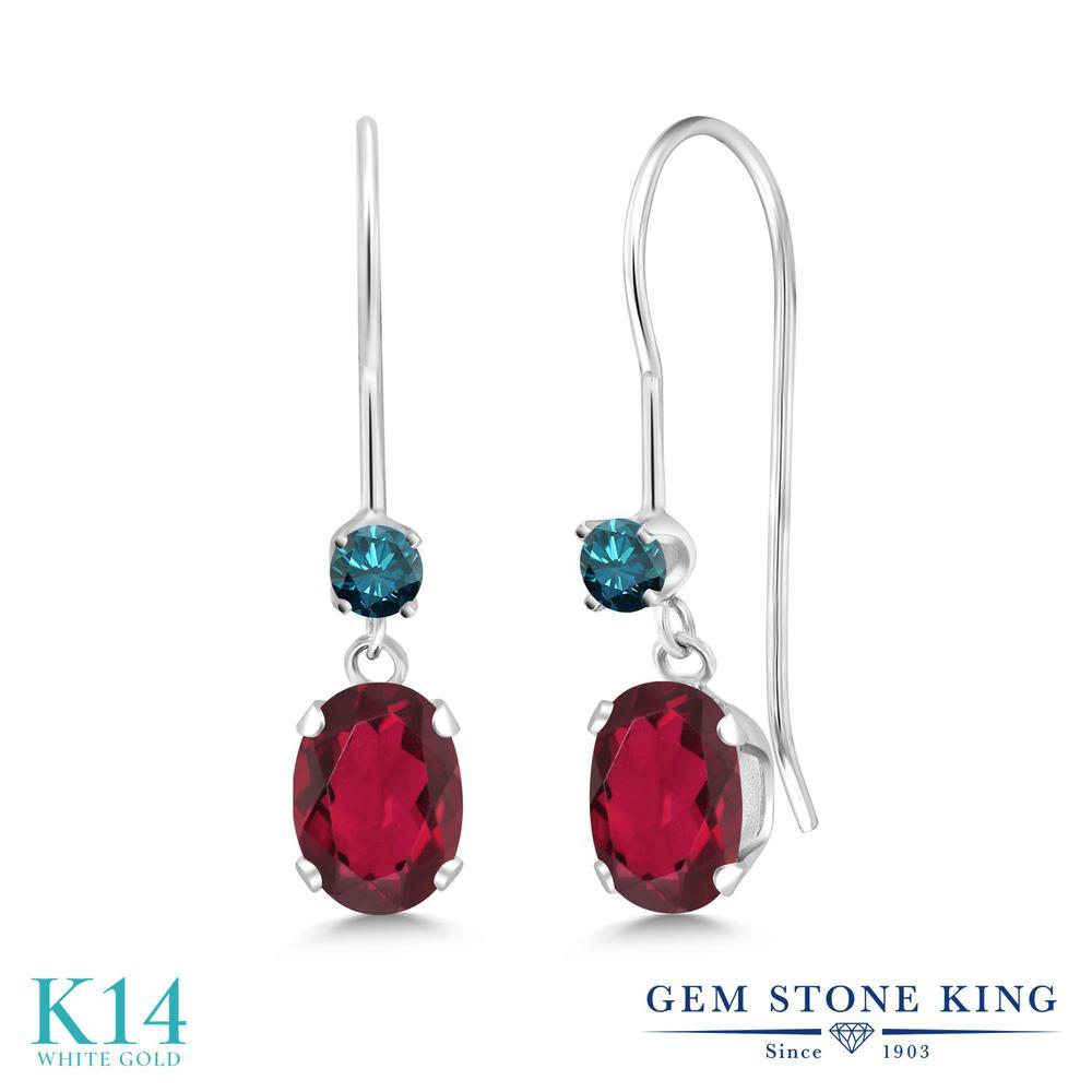 Gem Stone King 1.13カラット 天然 ミスティックトパーズ (ルビーレッド) 天然 ブルーダイヤモンド 14金 ホワイトゴールド(K14) ピアス レディース 小粒 ぶら下がり アメリカン 揺れる 天然石 金属アレルギー対応 誕生日プレゼント