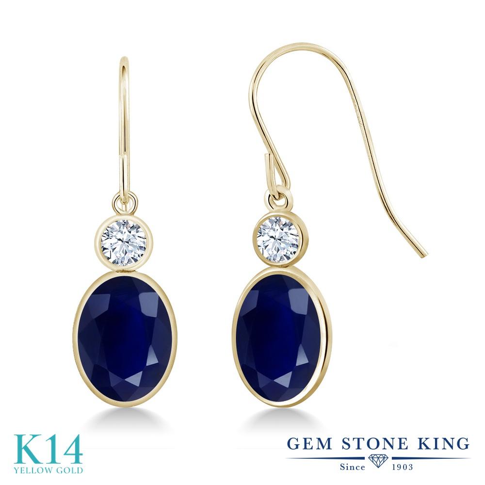 Gem Stone King 3.8カラット 天然 サファイア 14金 イエローゴールド(K14) ピアス レディース 大粒 ぶら下がり フレンチワイヤー 天然石 9月 誕生石 金属アレルギー対応 誕生日プレゼント