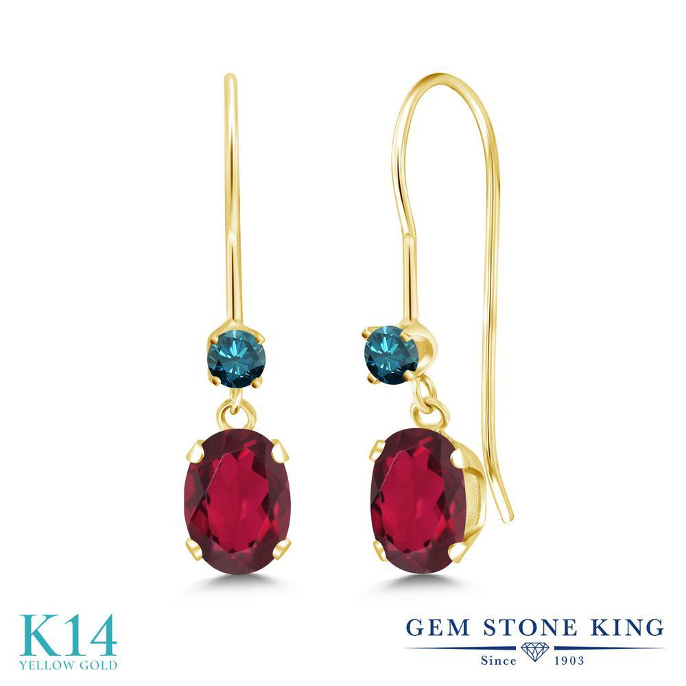 Gem Stone King 1.13カラット 天然 ミスティックトパーズ (ルビーレッド) 天然 ブルーダイヤモンド 14金 イエローゴールド(K14) ピアス レディース 小粒 ぶら下がり アメリカン 揺れる 天然石 金属アレルギー対応 誕生日プレゼント