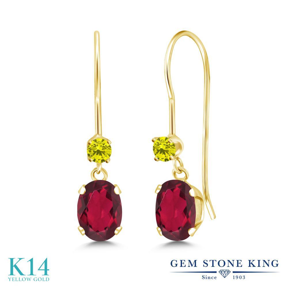 Gem Stone King 1.13カラット 天然 ミスティックトパーズ (ルビーレッド) 天然 イエローダイヤモンド 14金 イエローゴールド(K14) ピアス レディース 小粒 ぶら下がり アメリカン 揺れる 天然石 金属アレルギー対応 誕生日プレゼント