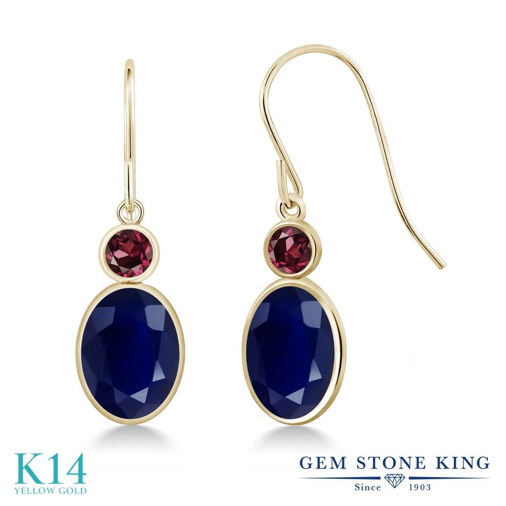 Gem Stone King 3.82カラット 天然 サファイア 天然 ロードライトガーネット 14金 イエローゴールド(K14) ピアス レディース 大粒 ぶら下がり フレンチワイヤー 天然石 9月 誕生石 金属アレルギー対応 誕生日プレゼント