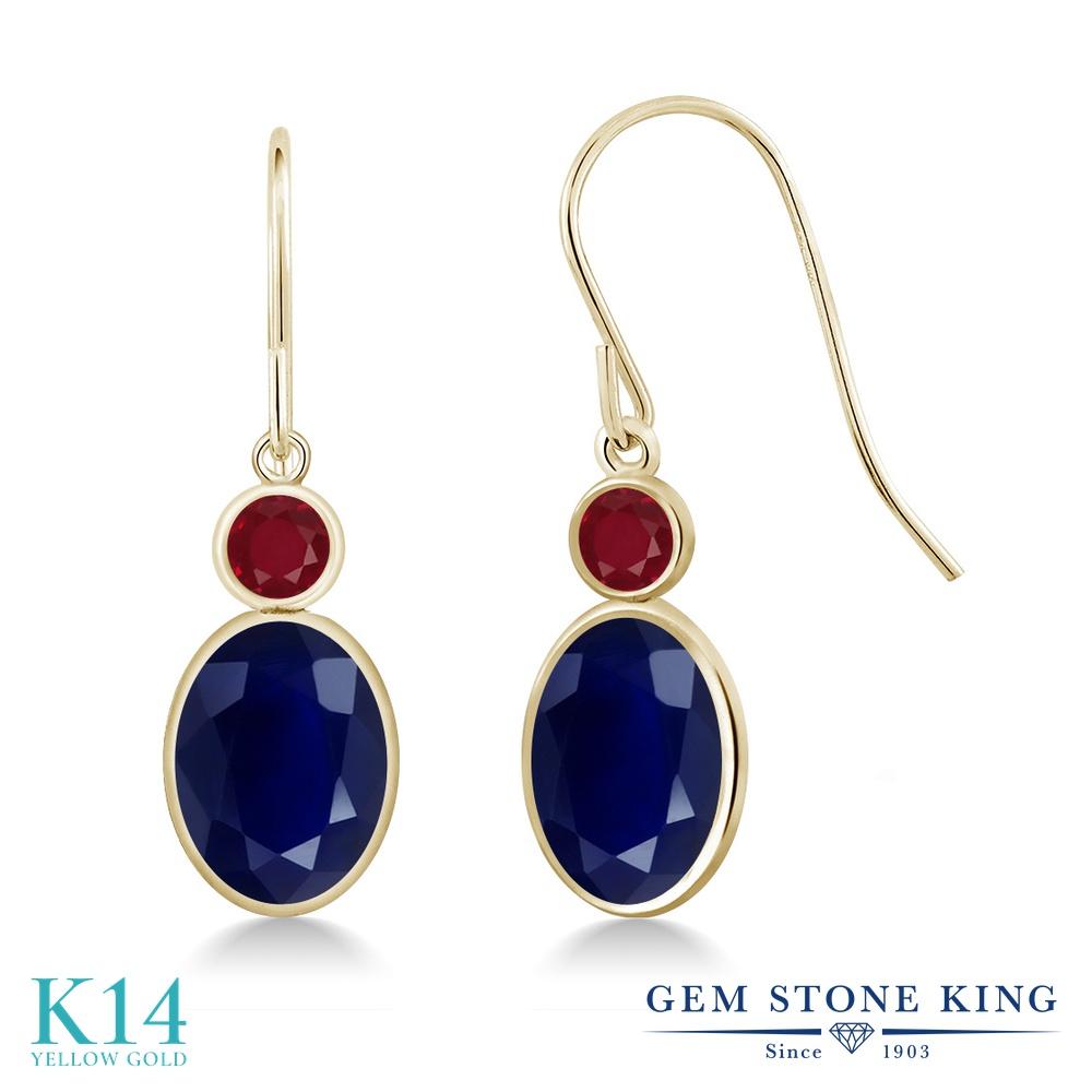 Gem Stone King 3.86カラット 天然 サファイア 天然 ルビー 14金 イエローゴールド(K14) ピアス レディース 大粒 ぶら下がり フレンチワイヤー 天然石 9月 誕生石 金属アレルギー対応 誕生日プレゼント