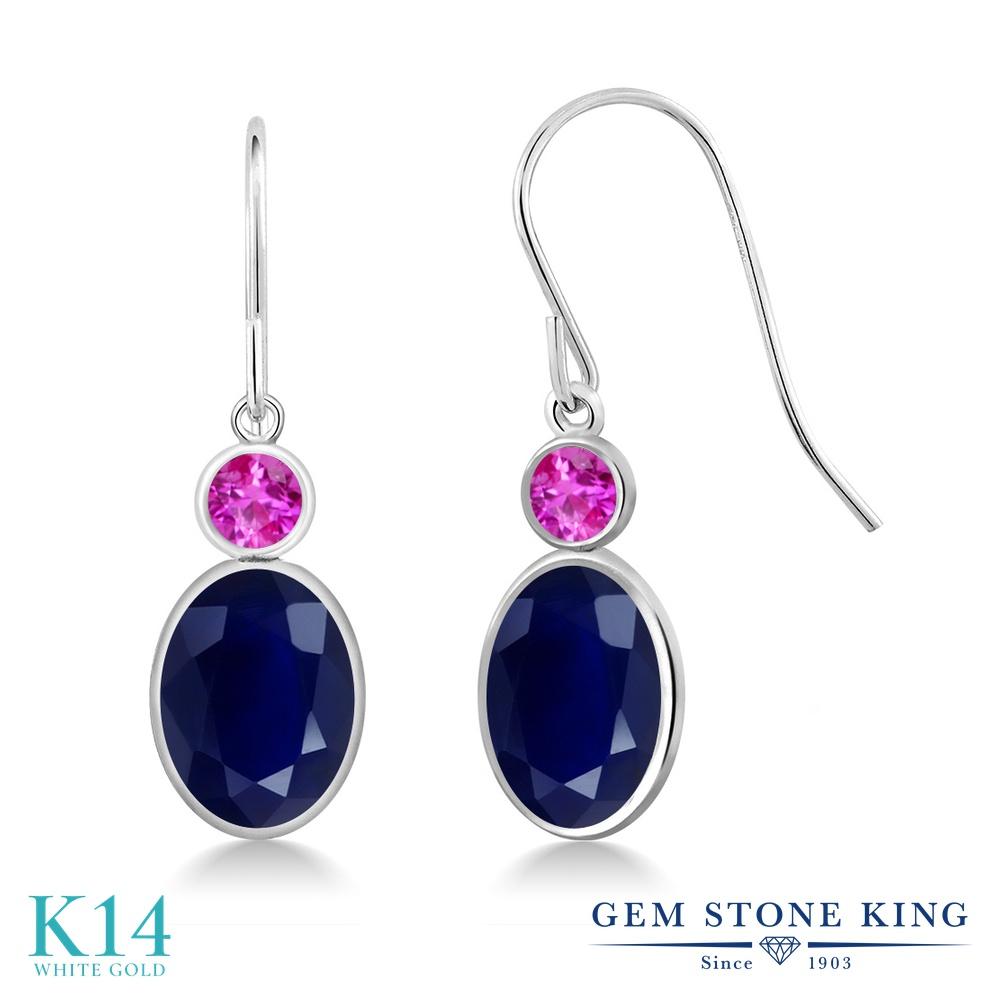 Gem Stone King 3.84カラット 天然 サファイア 天然 ピンクサファイア 14金 ホワイトゴールド(K14) ピアス レディース 大粒 ぶら下がり フレンチワイヤー 天然石 9月 誕生石 金属アレルギー対応 誕生日プレゼント