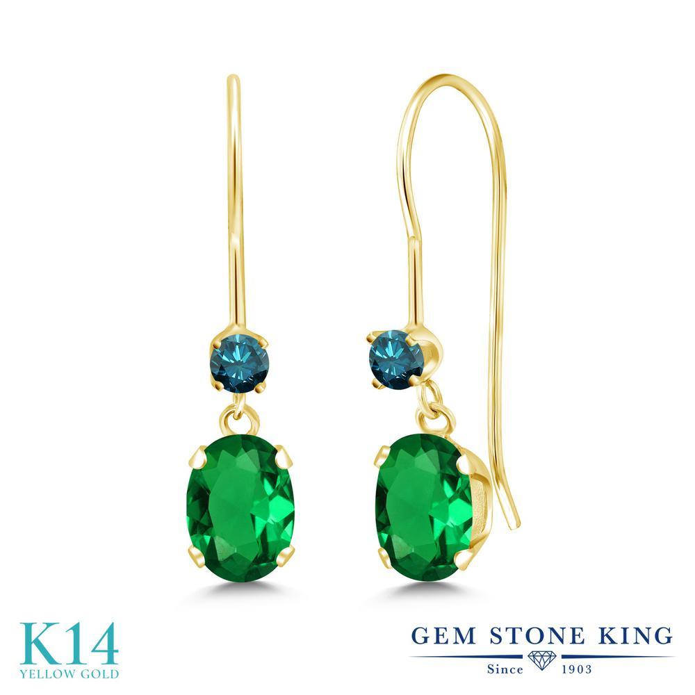 Gem Stone King 0.93カラット ナノエメラルド 天然 ブルーダイヤモンド 14金 イエローゴールド(K14) ピアス レディース 小粒 ぶら下がり アメリカン 揺れる 金属アレルギー対応 誕生日プレゼント