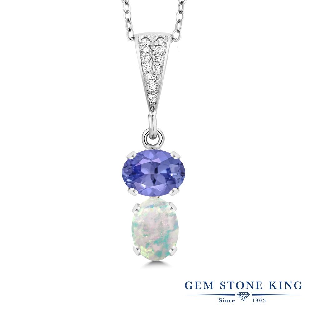 Gem Stone King 2.28カラット 天然石 タンザナイト シミュレイテッド ホワイトオパール シルバー925 ネックレス ペンダント レディース 大粒 天然石 12月 誕生石 金属アレルギー対応 誕生日プレゼント