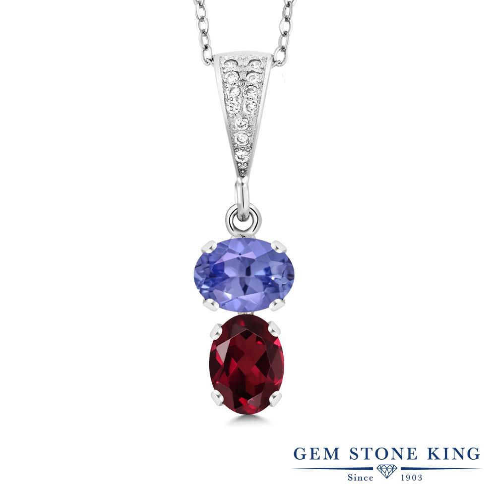 Gem Stone King 2.58カラット 天然石 タンザナイト 天然 ロードライトガーネット シルバー925 ネックレス ペンダント レディース 大粒 天然石 12月 誕生石 金属アレルギー対応 誕生日プレゼント