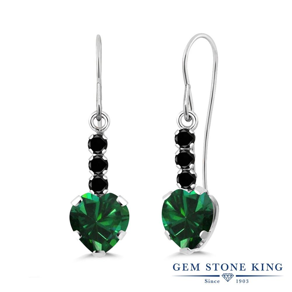 Gem Stone King 1.56カラット ナノエメラルド 天然ブラックダイヤモンド シルバー925 ピアス レディース ぶら下がり アメリカン 揺れる 金属アレルギー対応 誕生日プレゼント