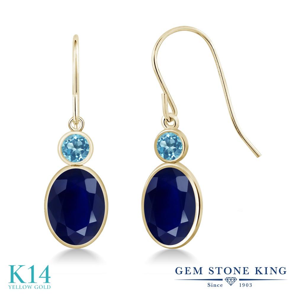 Gem Stone King 3.88カラット 天然 サファイア 天然 スイスブルートパーズ 14金 イエローゴールド(K14) ピアス レディース 大粒 ぶら下がり フレンチワイヤー 天然石 9月 誕生石 金属アレルギー対応 誕生日プレゼント