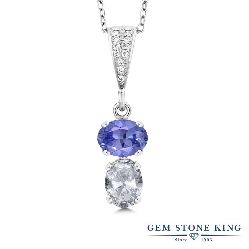 Gem Stone King 2.53カラット 天然石 タンザナイト 天然 トパーズ (無色透明) シルバー925 ネックレス ペンダント レディース 大粒 天然石 12月 誕生石 金属アレルギー対応 誕生日プレゼント