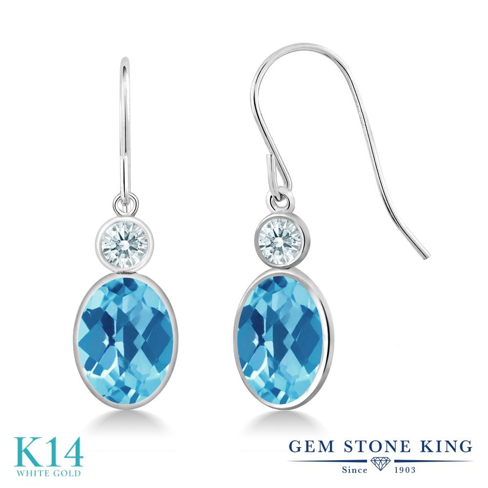 Gem Stone King 2.82カラット 天然 スイスブルートパーズ 14金 ホワイトゴールド(K14) ピアス レディース 大粒 ぶら下がり フレンチワイヤー 天然石 11月 誕生石 金属アレルギー対応 誕生日プレゼント