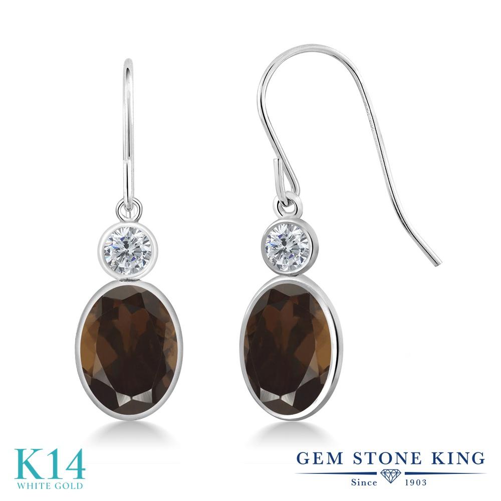 Gem Stone King 2.6カラット 天然 スモーキークォーツ (ブラウン) 天然 ダイヤモンド 14金 ホワイトゴールド(K14) ピアス レディース 大粒 ぶら下がり フレンチワイヤー 天然石 金属アレルギー対応 誕生日プレゼント