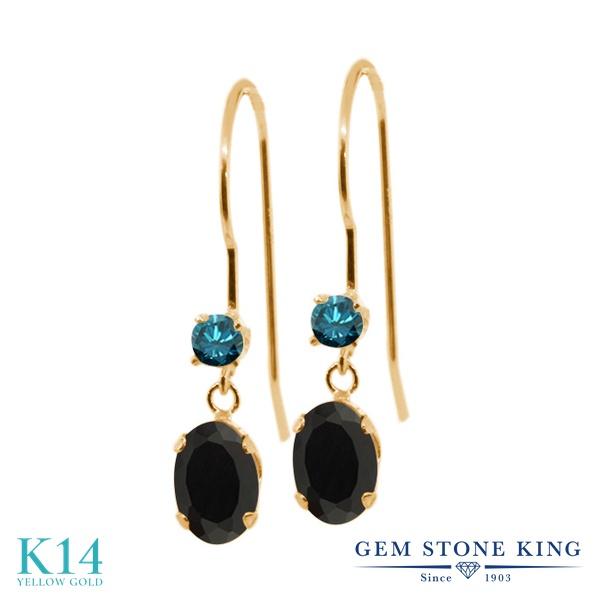 Gem Stone King 0.91カラット 天然 オニキス 天然 ブルーダイヤモンド 14金 イエローゴールド(K14) ピアス レディース 小粒 ぶら下がり アメリカン 揺れる 天然石 8月 誕生石 金属アレルギー対応 誕生日プレゼント