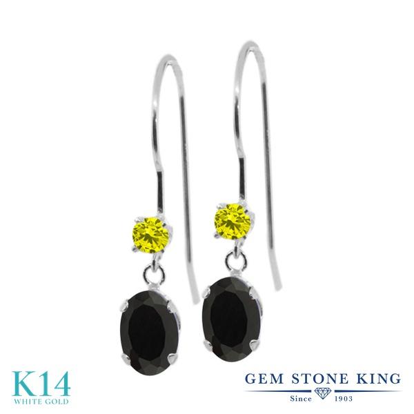 Gem Stone King 0.91カラット 天然 オニキス 天然 イエローダイヤモンド 14金 ホワイトゴールド(K14) ピアス レディース 小粒 ぶら下がり アメリカン 揺れる 天然石 8月 誕生石 金属アレルギー対応 誕生日プレゼント