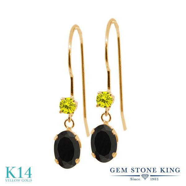 Gem Stone King 0.91カラット 天然 オニキス 天然 イエローダイヤモンド 14金 イエローゴールド(K14) ピアス レディース 小粒 ぶら下がり アメリカン 揺れる 天然石 8月 誕生石 金属アレルギー対応 誕生日プレゼント