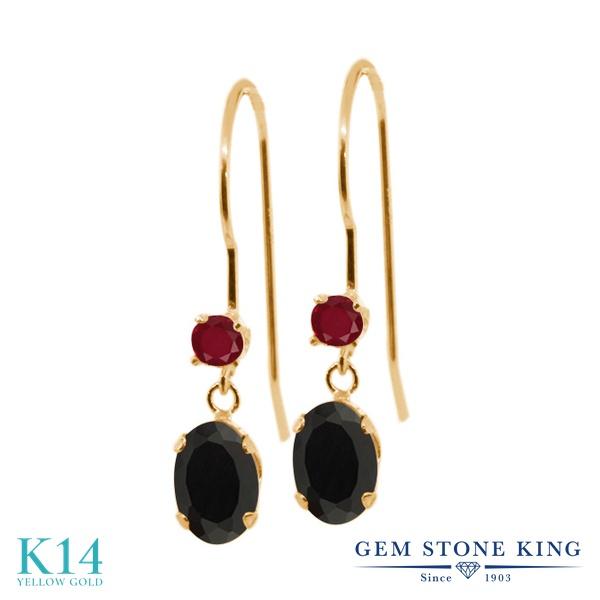 Gem Stone King 1.02カラット 天然 オニキス 天然 ルビー 14金 イエローゴールド(K14) ピアス レディース 小粒 ぶら下がり アメリカン 揺れる 天然石 8月 誕生石 金属アレルギー対応 誕生日プレゼント