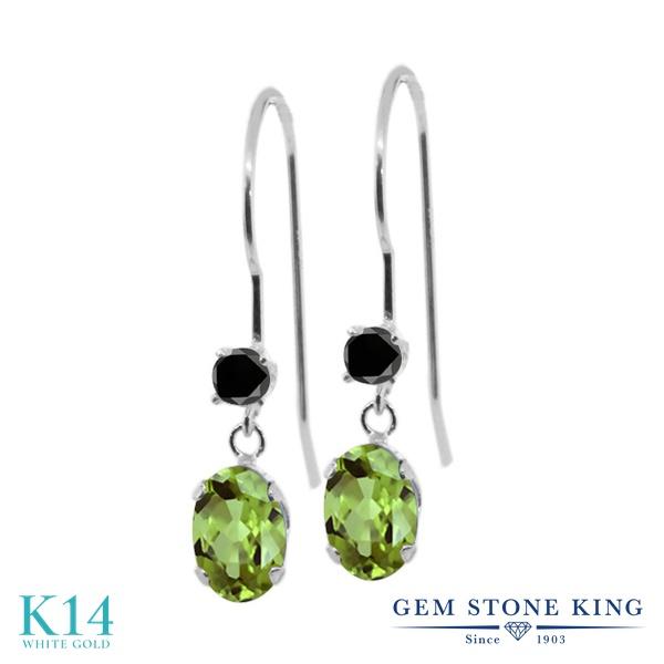 Gem Stone King 1.13カラット 天然石ペリドット 14金 ホワイトゴールド(K14) 天然ブラックダイヤモンド ピアス レディース 小粒 ぶら下がり アメリカン フック 天然石 誕生石 金属アレルギー対応 誕生日プレゼント