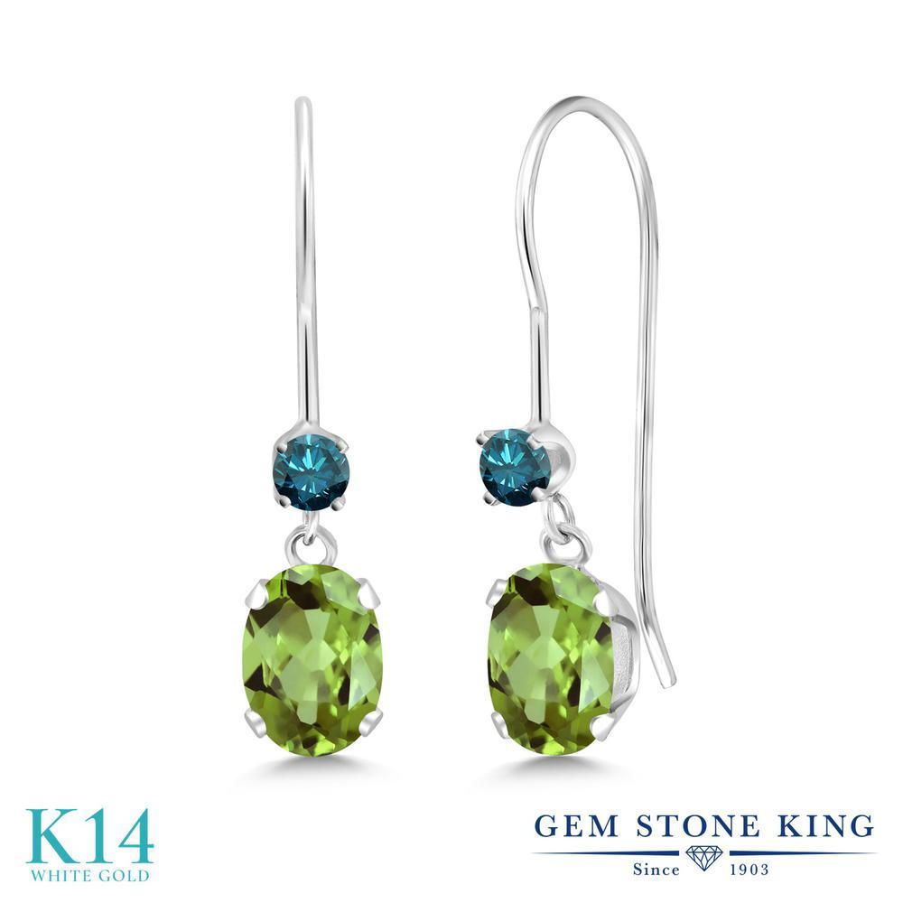 Gem Stone King 1.13カラット 天然石 ペリドット 天然 ブルーダイヤモンド 14金 ホワイトゴールド(K14) ピアス レディース 小粒 ぶら下がり アメリカン 揺れる 天然石 8月 誕生石 金属アレルギー対応 誕生日プレゼント
