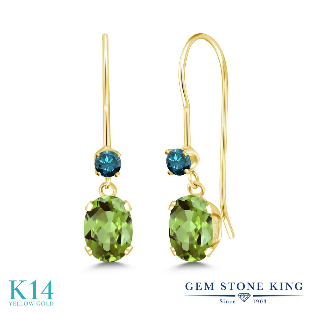 Gem Stone King 1.13カラット 天然石 ペリドット 天然 ブルーダイヤモンド 14金 イエローゴールド(K14) ピアス レディース 小粒 ぶら下がり アメリカン 揺れる 天然石 8月 誕生石 金属アレルギー対応 誕生日プレゼント