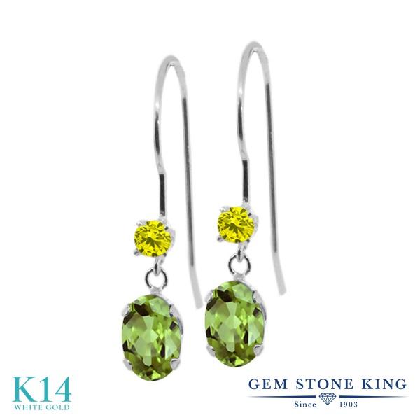 Gem Stone King 1.13カラット 天然石 ペリドット 天然 イエローダイヤモンド 14金 ホワイトゴールド(K14) ピアス レディース 小粒 ぶら下がり アメリカン 揺れる 天然石 8月 誕生石 金属アレルギー対応 誕生日プレゼント