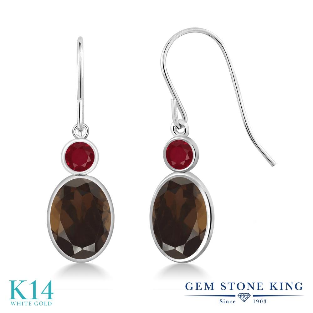 Gem Stone King 2.68カラット 天然 スモーキークォーツ (ブラウン) 天然 ルビー 14金 ホワイトゴールド(K14) ピアス レディース 大粒 ぶら下がり フレンチワイヤー 天然石 金属アレルギー対応 誕生日プレゼント
