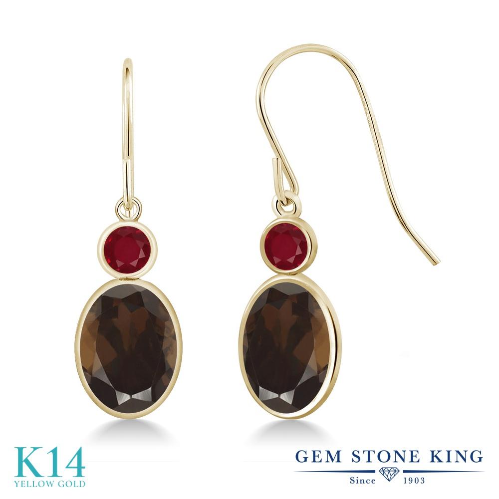 Gem Stone King 2.68カラット 天然 スモーキークォーツ (ブラウン) 天然 ルビー 14金 イエローゴールド(K14) ピアス レディース 大粒 ぶら下がり フレンチワイヤー 天然石 金属アレルギー対応 誕生日プレゼント
