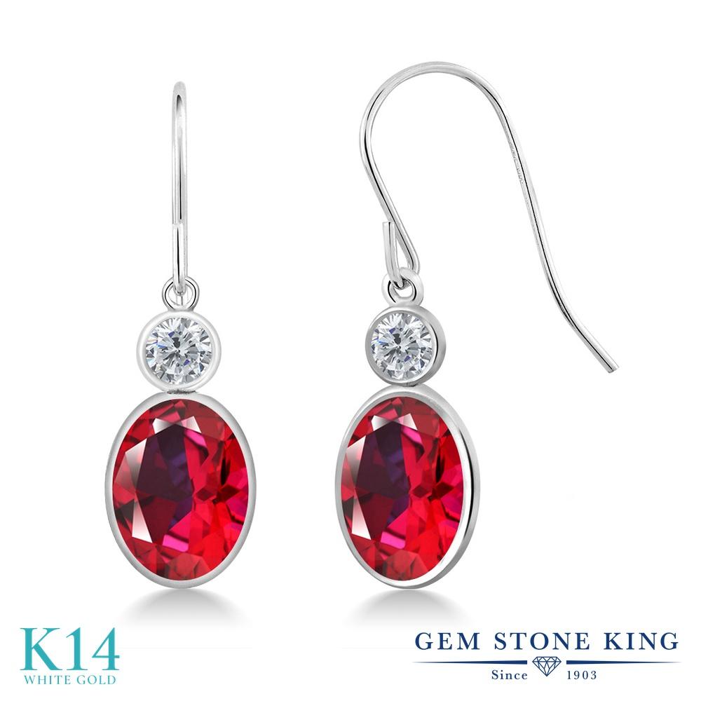 Gem Stone King 2.84カラット 天然石 レッドトパーズ (スワロフスキー 天然石シリーズ) 天然 ダイヤモンド 14金 ホワイトゴールド(K14) ピアス レディース 大粒 ぶら下がり フレンチワイヤー 天然石 金属アレルギー対応 誕生日プレゼント