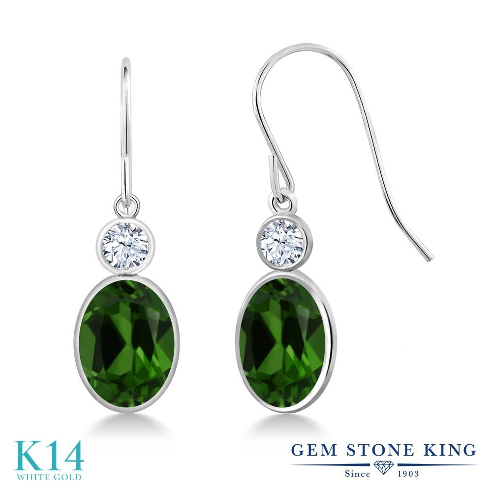 Gem Stone King 2.66カラット 天然 クロムダイオプサイド 合成ホワイトサファイア (ダイヤのような無色透明) 14金 ホワイトゴールド(K14) ピアス レディース 大粒 ぶら下がり フレンチワイヤー 天然石 金属アレルギー対応 誕生日プレゼント