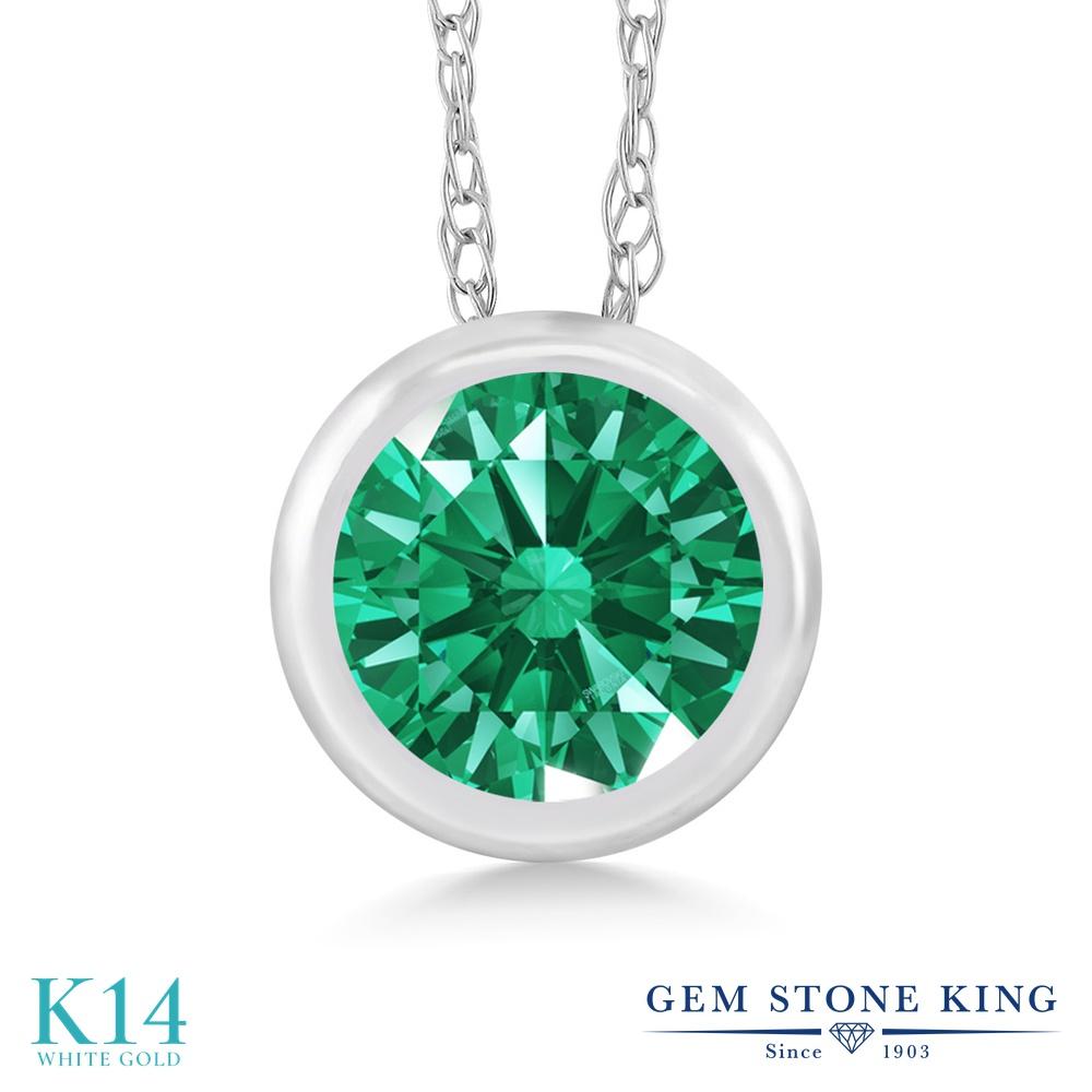 Gem Stone King スワロフスキージルコニア (グリーン) 14金 ホワイトゴールド(K14) ネックレス ペンダント レディース CZ 小粒 一粒 シンプル 金属アレルギー対応 誕生日プレゼント
