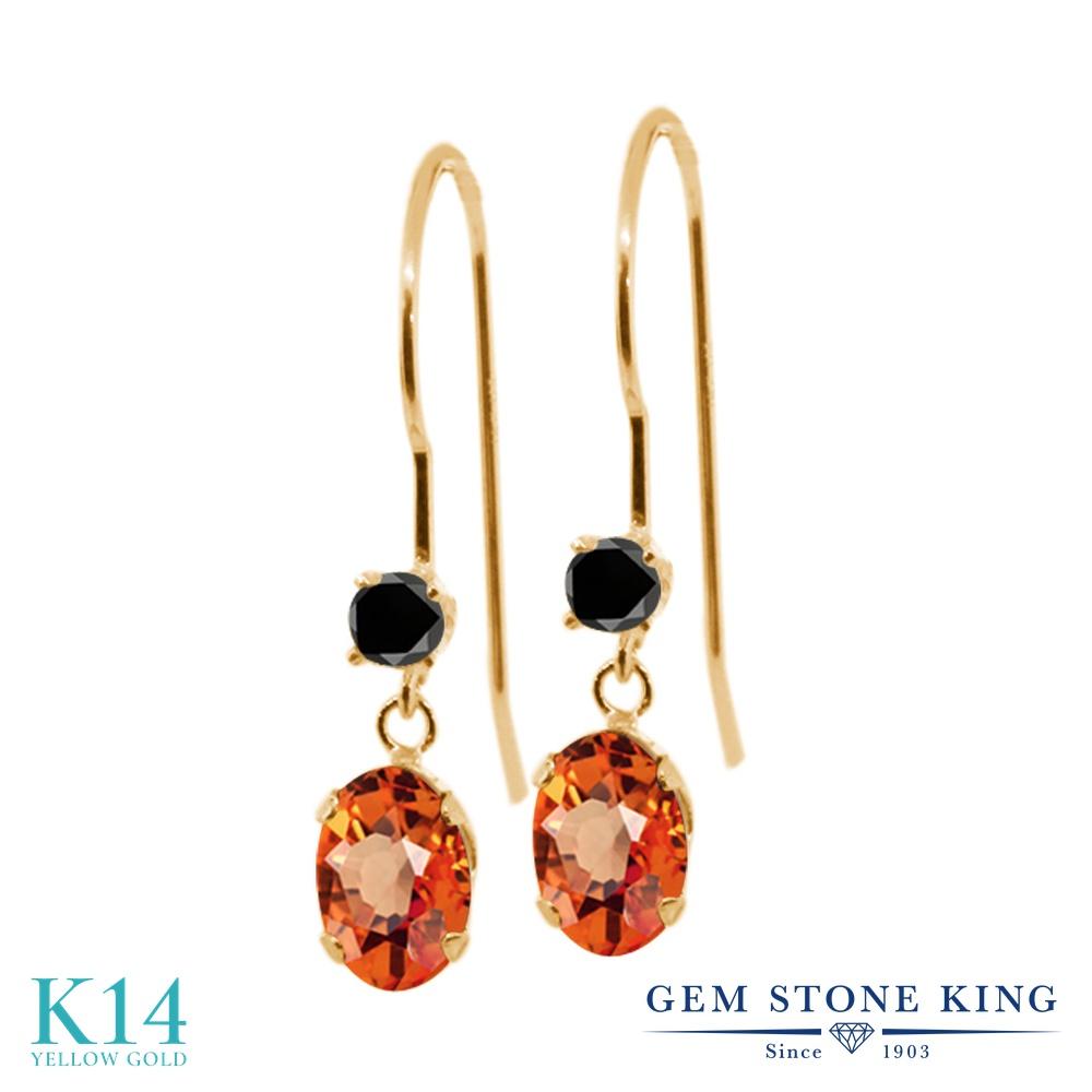 Gem Stone King 1.23カラット 天然サファイア(オレンジ) 14金 イエローゴールド(K14) 天然ブラックダイヤモンド ピアス レディース ぶら下がり アメリカン フック 天然石 誕生石 金属アレルギー対応 誕生日プレゼント
