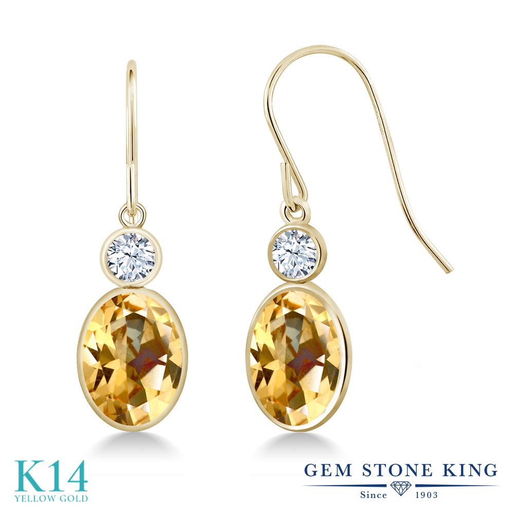 Gem Stone King 2.9カラット 天然石 トパーズ ハニースワロフスキー 合成ホワイトサファイア (ダイヤのような無色透明) 14金 イエローゴールド(K14) ピアス レディース 大粒 ぶら下がり フレンチワイヤー 天然石 金属アレルギー対応 誕生日プレゼント