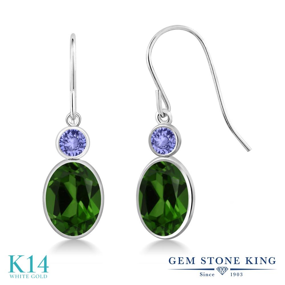 Gem Stone King 2.64カラット 天然 クロムダイオプサイド 天然石 タンザナイト 14金 ホワイトゴールド(K14) ピアス レディース 大粒 ぶら下がり フレンチワイヤー 天然石 金属アレルギー対応 誕生日プレゼント