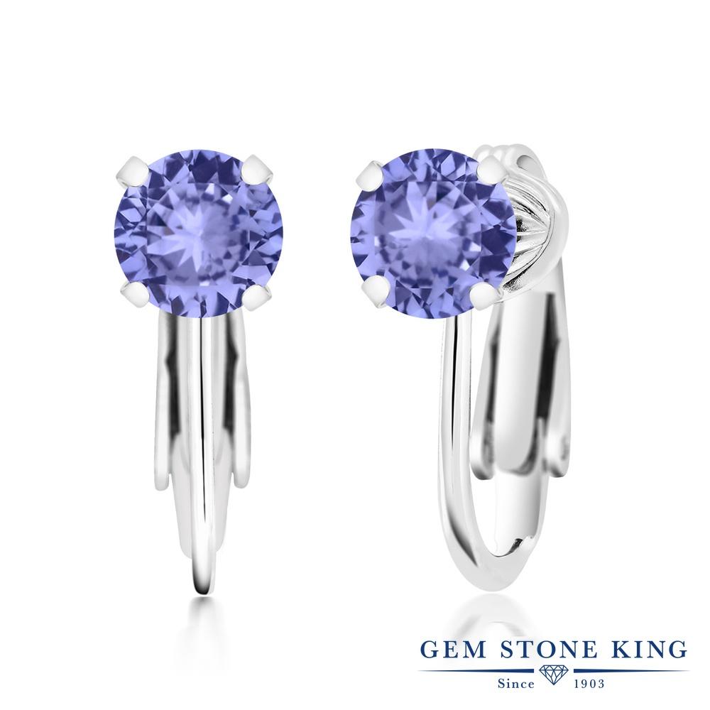 Gem Stone King 1.8カラット 天然石 タンザナイト シルバー925 イヤリング ノンホールピアス レディース シンプル クリップ・オン(板ばね) 天然石 12月 誕生石 金属アレルギー対応 誕生日プレゼント