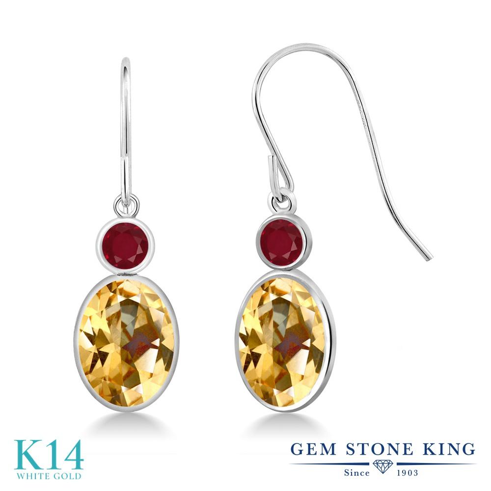 Gem Stone King 3.28カラット 天然石 トパーズ ハニースワロフスキー 天然 ルビー 14金 ホワイトゴールド(K14) ピアス レディース 大粒 ぶら下がり フレンチワイヤー 天然石 金属アレルギー対応 誕生日プレゼント